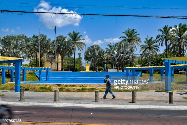 View of a nearly empty plaza as most public places have been shut down on March 18 2020 in San Salvador El Salvador Despite no cases of COVID19 have...