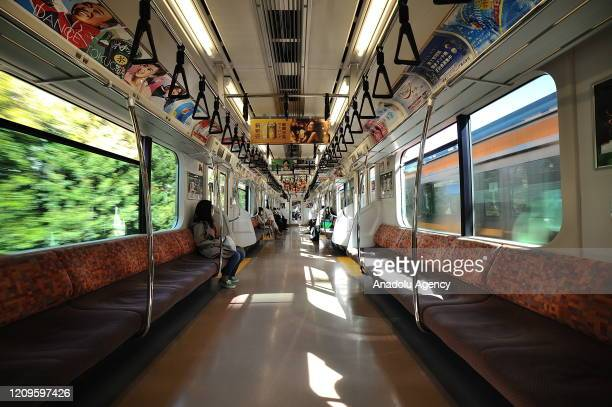 A view of a nearly empty public transport is seen after the state of emergency declared to prevent the spread of coronavirus in Tokyo Japan on April...