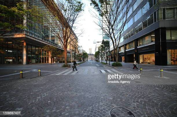A view of a nearly empty street is seen after the state of emergency declared to prevent the spread of coronavirus in Tokyo Japan on April 10 2020