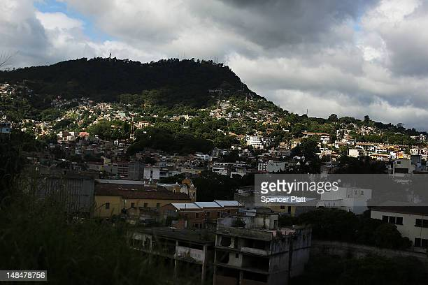 View of a neighborhood in the capital on July 17, 2012 in Tegucigalpa, Honduras. Honduras now has the highest per capita murder rate in the world and...