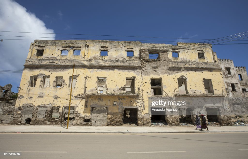 A view of a neighborhood with destruction of the Somalian Civil War... News Photo - Getty Images
