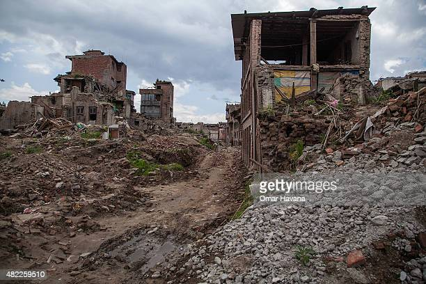 View of a neighbourhood destroyed by the earthquake that hit Nepal and where 25 people lost their lives on July 29, 2015 in Bhaktapur, Nepal. Three...