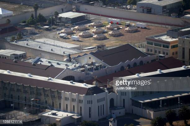 View of a new emergency care facility that was erected to treat inmates infected with COVID-19 at San Quentin State Prison on July 08, 2020 in San...