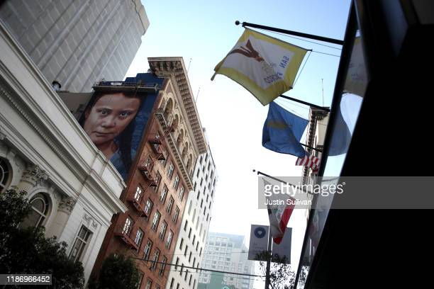 View of a new four-story-high mural of Swedish climate activist Greta Thunberg on November 11, 2019 in San Francisco, California. A new mural...