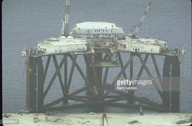 A view of a new Iranian offshore platform under construction which is said to be possibly of military use in monitoring shipping and warships into...