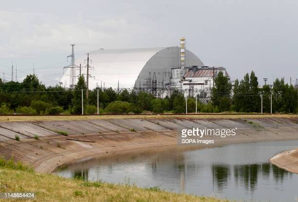 A view of a New Safe Confinement covering the 4th block of Chernobyl Nuclear power at the Chernobyl exclusion zone in Pripyat The HBO television...