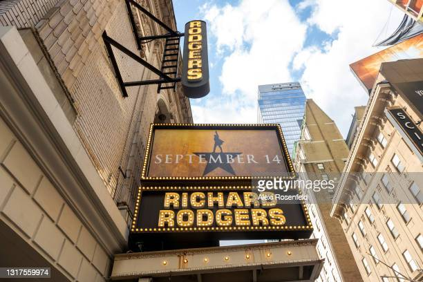 """View of a newly installed """"September 14"""" sign is displayed on the Hamilton marquee at the Richard Rodgers Theatre in Times Square on May 11, 2021 in..."""