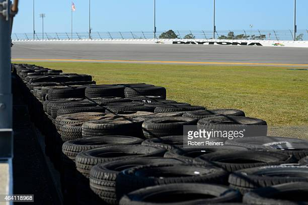 A view of a newly installed tire barrier at the location of a crash in last nights NASCAR XFINITY Series Alert Today Florida 300 that resulted in...