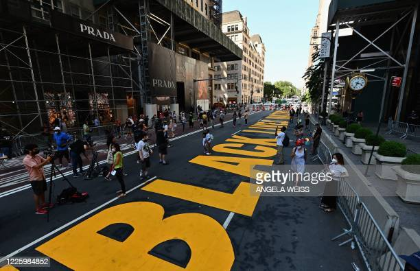 View of a newly painted Black Lives Matter mural outside of Trump Tower on Fifth Avenue on July 9, 2020 in New York City.