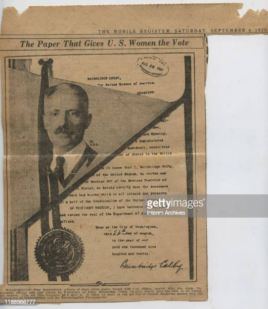 View of a newspaper clipping, from the Mobile Register, with the heading, ''The Paper That Gives US Women The Vote,' features a facsimile of the...