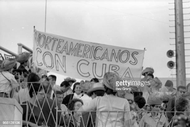 View of a North American alternative press delegation in la Plaza de la Revolucion during the 10th anniversary celebration of the Cuban Revolution...