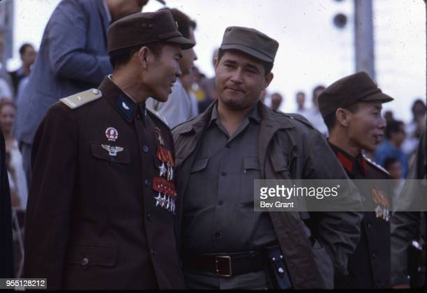 View of a North Vietnamese and Cuban solidier talk together in la Plaza de la Revolucion during the 10th anniversary celebration of the Cuban...
