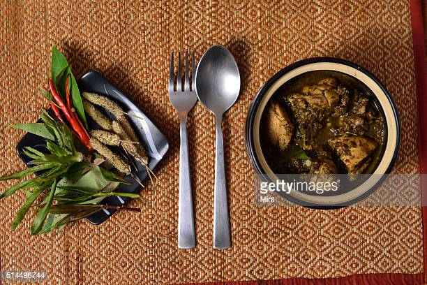 A view of a NorthEastern Indian dish Chicken Curry on March 3 2015 in New Delhi India