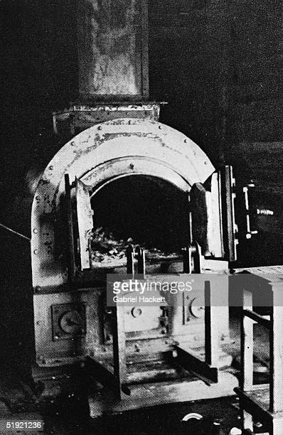 View of a open door on one of the ovens at Auschwitz concentration camp near Oswiecim Poland 1940s The ovens were primarily used to incinerate the...