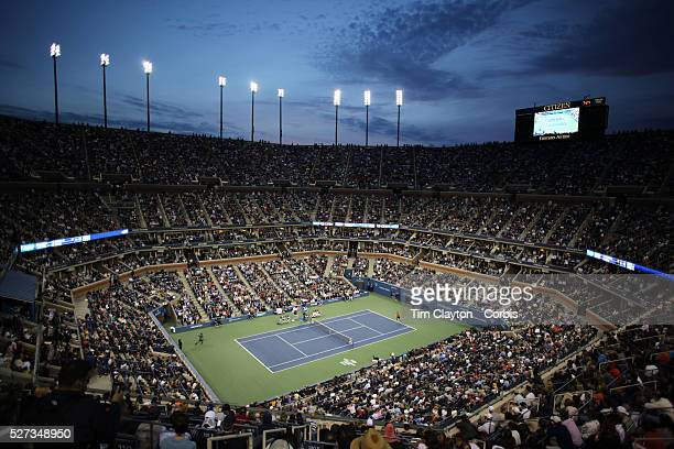 View of a packed Arthur Ashe Stadium as Rafael Nadal, Spain, in action against Novak Djokovic, Serbia, during the Men's Singles Final at the US Open,...