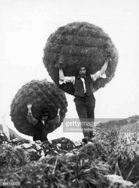 View of a pair of farmers as they carry hay bales in the Bernese Oberland's Simmen Valley Switzerland 1927