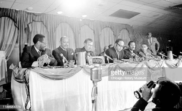 View of a panel of politicians many from the Congressional Black Caucus during a hearing related to the deaths of Illinois Black Panther Party...