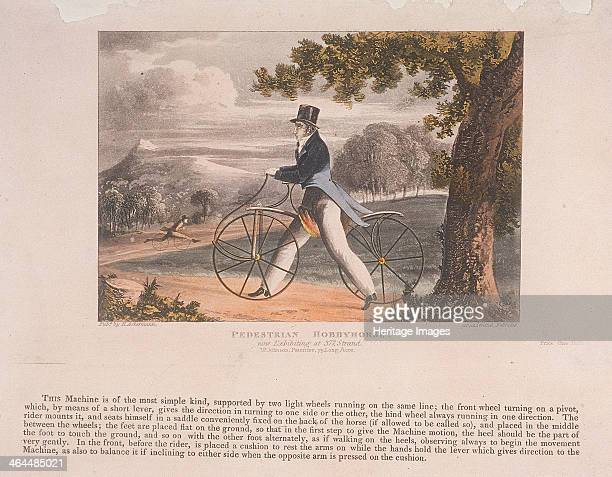 View of a 'Pedestrian Hobbyhorse' with a description of the contraption underneath 1819