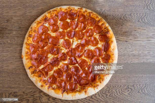A view of a Pepperoni hand tossed pizza at Pizza Hut on June 29 2018 in Shreveport Louisiana