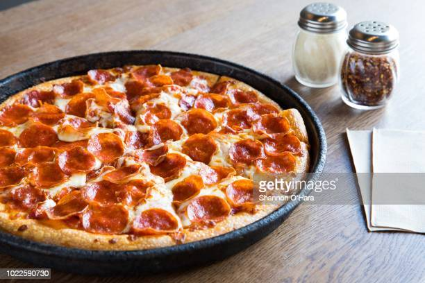 A view of a Pepperoni pan pizza at Pizza Hut on June 29 2018 in Shreveport Louisiana