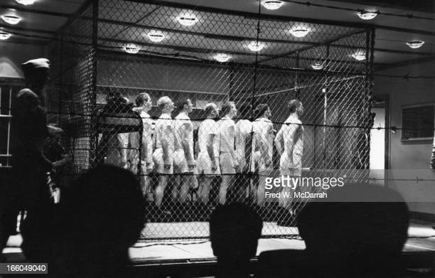View of a performance of the play 'The Brig' at The Living Theatre New York New York May 13 1963