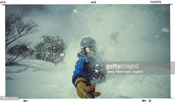 View of a person skiing
