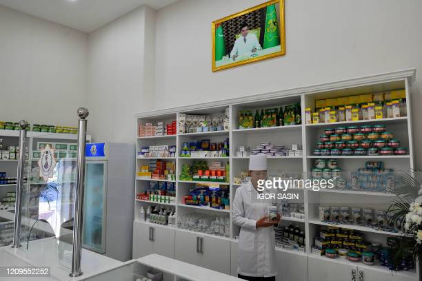 View of a pharmacy in Ashgabat on April 8, 2020. - Isolated Turkmenistan, which held mass aerobic exercises and a cycling event with coordinated...