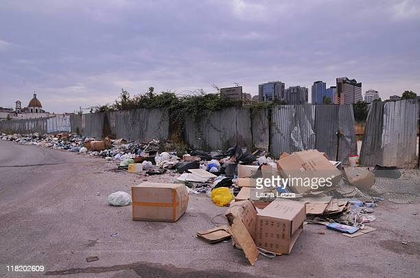A view of a pile of uncollected rubbish in the district of Poggioreale on July 4 2011 in Naples Italy Italy's third largest city is once again...
