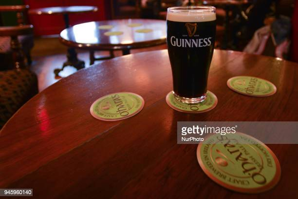 A view of a pint of Guinness inside J O'Connell Dublin Pub On Friday April 13 in Dublin Ireland