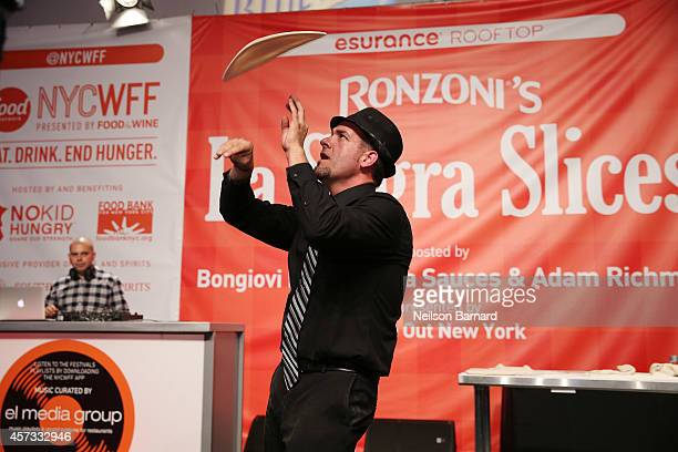 View of a pizza dough tossing contest at Ronzoni's La Sagra Slices hosted by Bongiovi Brand pasta sauces Adam Richman presented by Time Out New York...