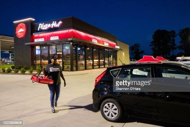 View of a Pizza Hut Delivery driver on June 29, 2018 in Shreveport, Louisiana.