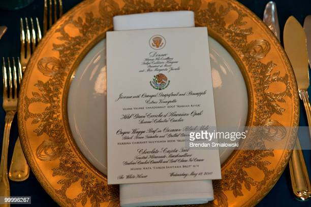 A view of a place setting in the East Room of the White House before a state dinner May 19 2010 in Washington DC President Barack Obama and first...