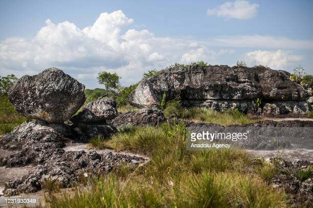 View of a place with many old stones in San Jose del Guaviare, Colombia on March 24, 2021. The area is covered with old stones that are found in many...