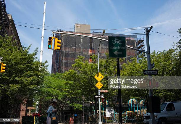 View of a playground at the intersection of Henry and Pacific streets Brooklyn New York New York July 28 2016 Behind it is the former Long Island...