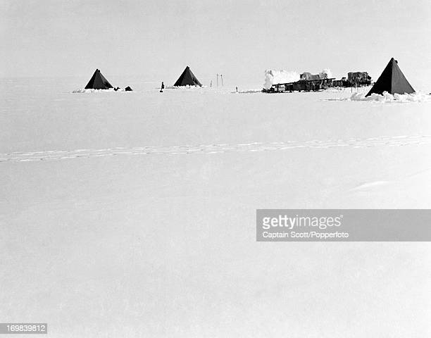 A view of a pony camp on the Great Ice Barrier photographed during the last tragic voyage to Antarctica by Captain Robert Falcon Scott circa November...