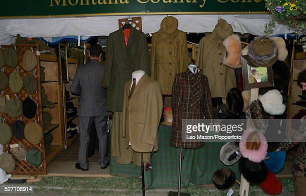 View of a pop up shop selling tweed jackets and caps during the 2012 Cheltenham National Hunt Festival at Cheltenham racecourse in Gloucestershire on...