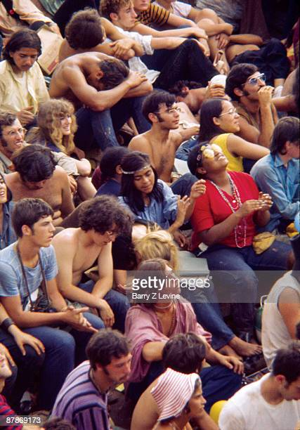 View of a portion of the massive crowd as they attend the Woodstock Music and Arts Fair in Bethel New York August 15 17 1969