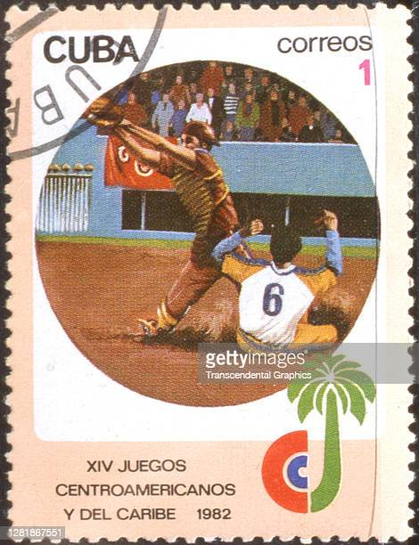 View of a postage stamp, issued to commemorate the XIV Juegos Centroamericanos y del Caribe , that features an illustration on-field action during a...