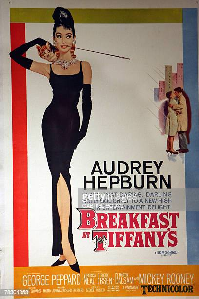View of a poster for Breakfast at Tiffany's with Audrey Hepburn estimated between 2000 and 2500 from the Jose Ma Carpio poster collection at Bonhams...
