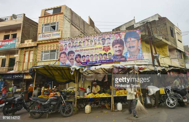 A view of a poster stuck for religious gathering on June 6 2018 in Indore India In April this year five godmen were offered ministerofstatelevel...