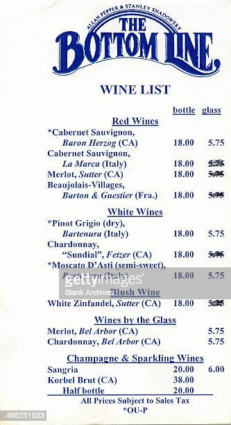 View of a price list for various wines from the Bottom Line music venue New York New York late twentieth century