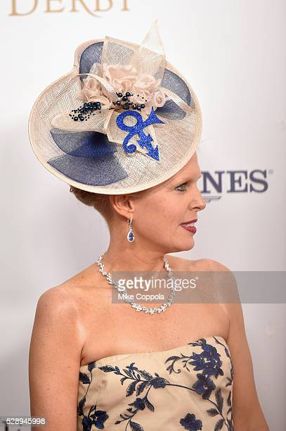 A view of a Prince tribute Derby Hat at the 142nd Kentucky Derby at Churchill Downs on May 07 2016 in Louisville Kentucky