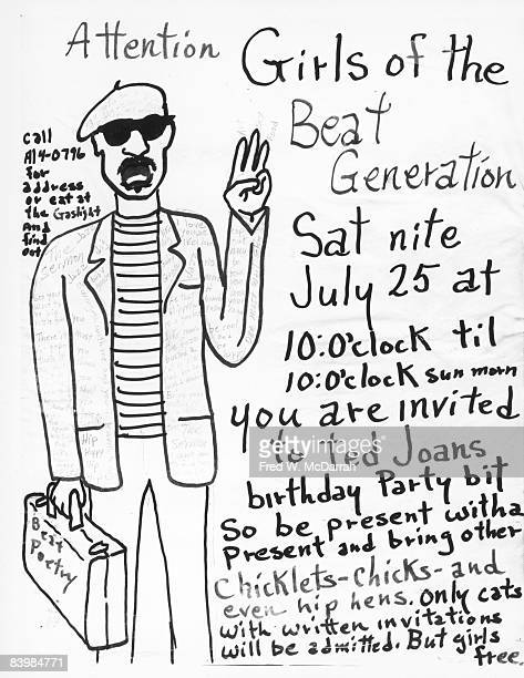 View of a printed invitation to the birthday party of Beat artist Ted Joans July 1959 The invitation adressed to 'Girls of the Beat Generation' reads...