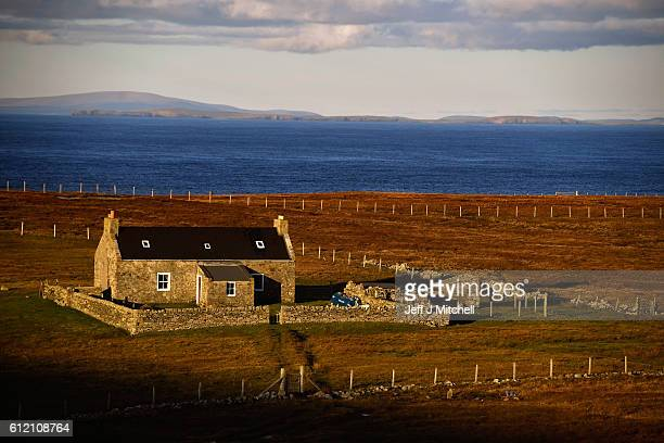 A view of a property on the Island of Foula on October 2 2016 in Foula Scotland Foula is the remotest inhabited island in Great Britain with a...