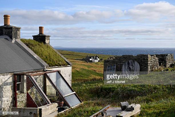 View of a property on the Island of Foula on October 3, 2016 in Foula, Scotland.Foula is the remotest inhabited island in Great Britain with a...