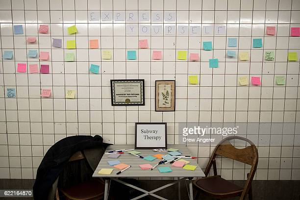 A view of a public art project entitled 'Subway Therapy' at the 6th Avenue subway station November 10 2016 in New York City Artist Matthew Chavez who...