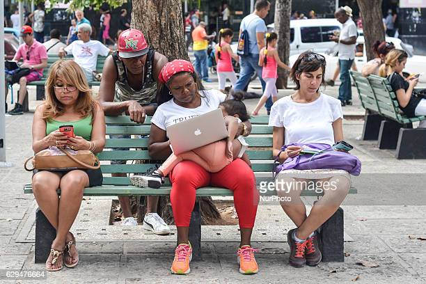 A view of a public wifi hotspots in Havana center where Cubans can sign up with ETECSA the state telecom company for public Internet access Since...