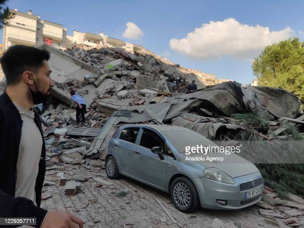 View of a quake damaged site right after a magnitude 6.6 quake shaking Turkey's Aegean Sea coast, in Izmir, Turkey on October 30, 2020.