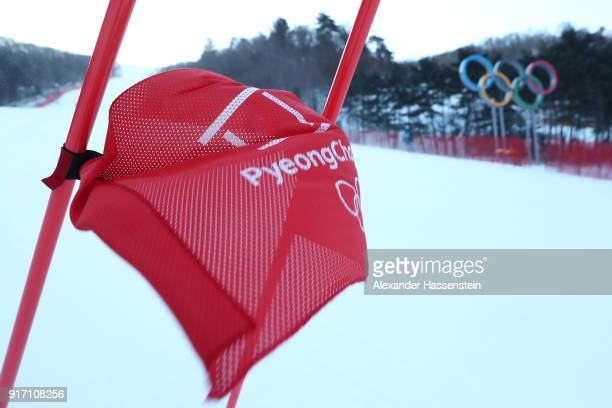 A view of a race gate after the Ladies' Giant Slalom was postponed due to strong winds on day three of the PyeongChang 2018 Winter Olympic Games at...
