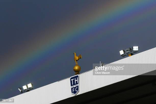 A view of a rainbow above White Hart Lane during the FA Barclaycard Premiership match between Tottenham Hotspur and Everton on October 4 2003 at...